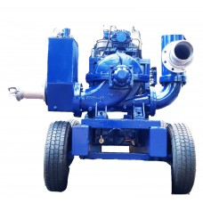 6 inch dewatering pump with split case water cooled engine